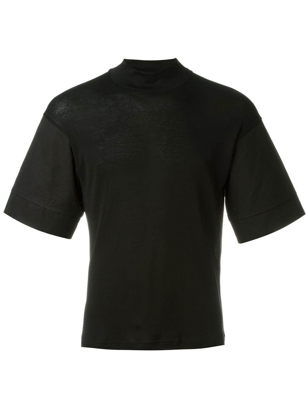 Lyst berthold mock neck t shirt in black for men for Mens mock turtleneck shirts sale