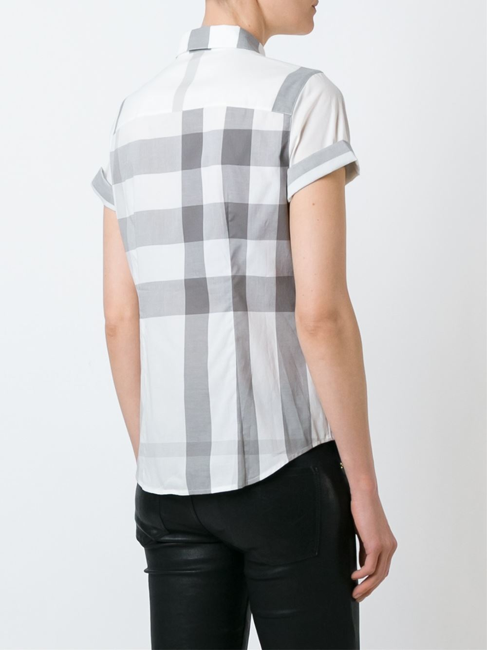 Burberry brit shortsleeved checked shirt in white lyst for Burberry brit checked shirt