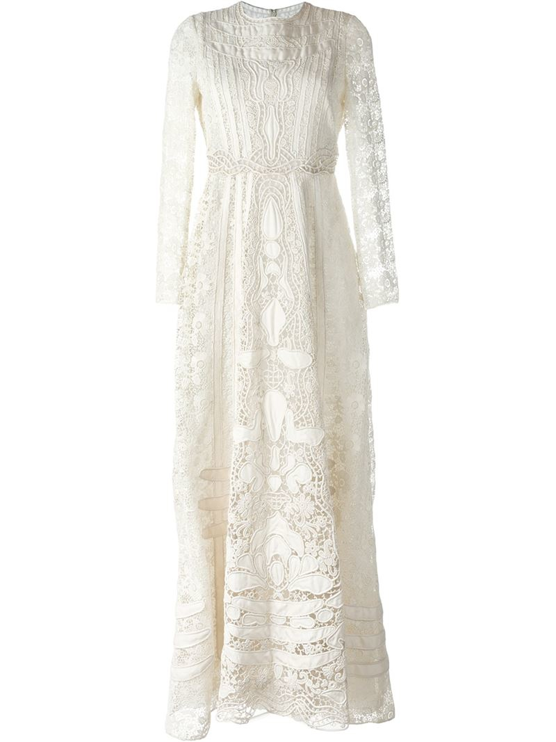 Lyst Valentino Broderie Anglaise Evening Dress In White