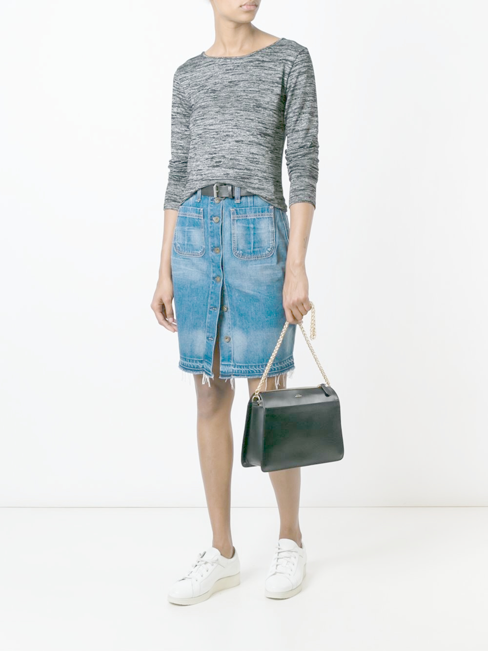 rag bone buttoned denim skirt in blue lyst