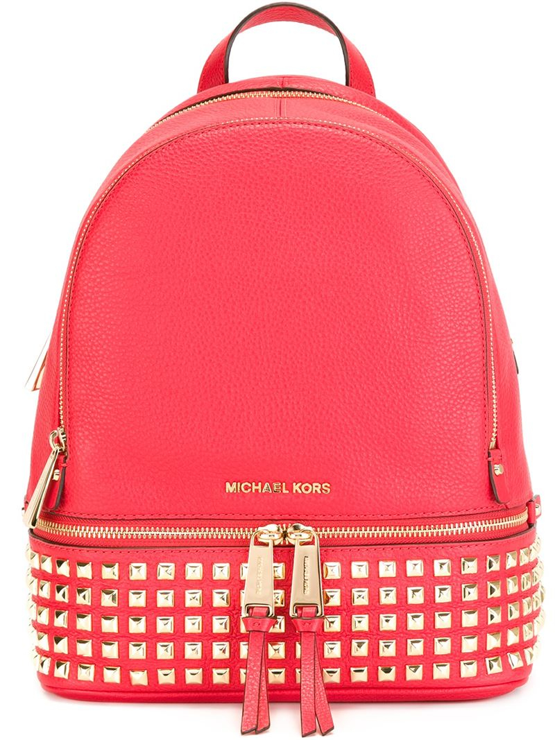 5d0cf7ddf877b7 MICHAEL Michael Kors 'rhea' Studded Backpack in Pink - Lyst