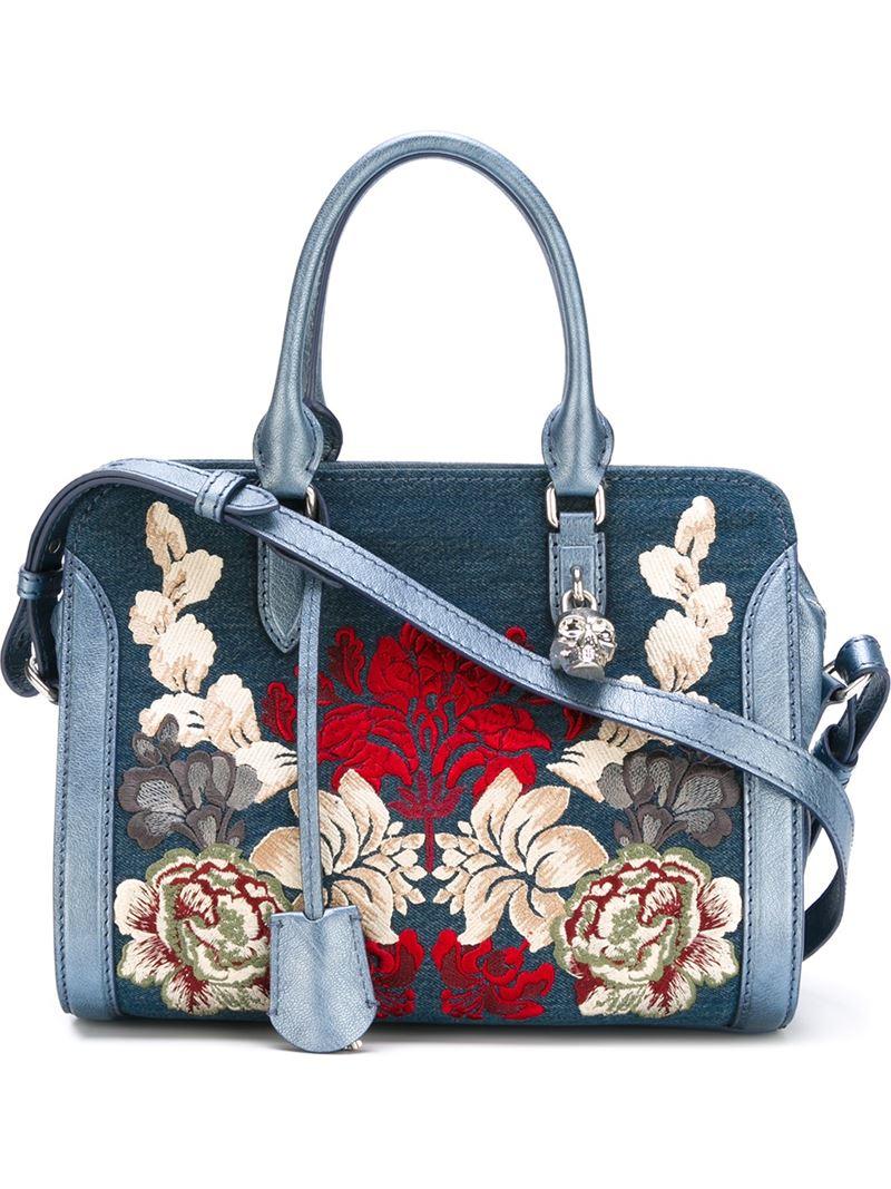 Lyst alexander mcqueen embroidered denim shoulder bag in