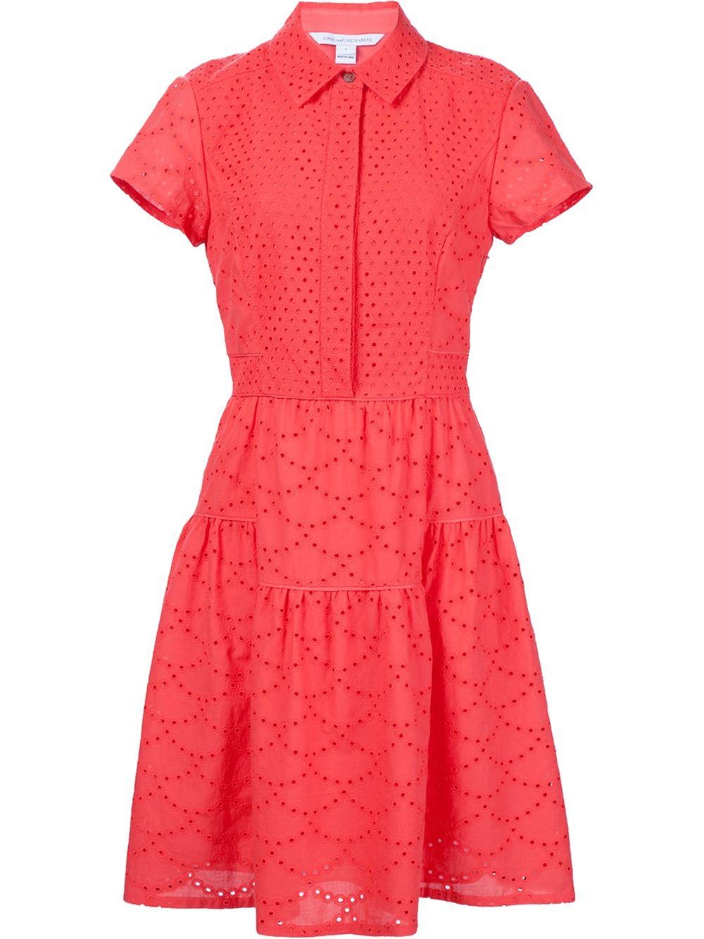 Lyst diane von furstenberg broderie anglaise shirt dress for Diane von furstenberg shirt