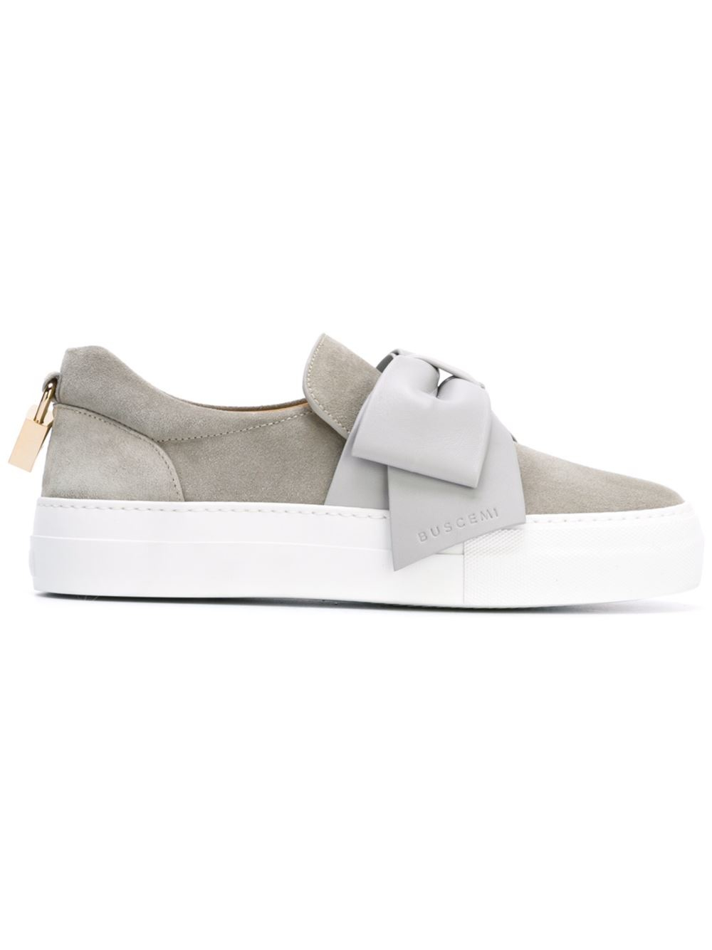 buscemi bow detail slip on sneakers in gray lyst. Black Bedroom Furniture Sets. Home Design Ideas