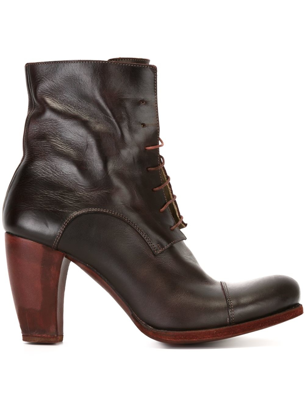 ma high heel lace up boots in brown lyst