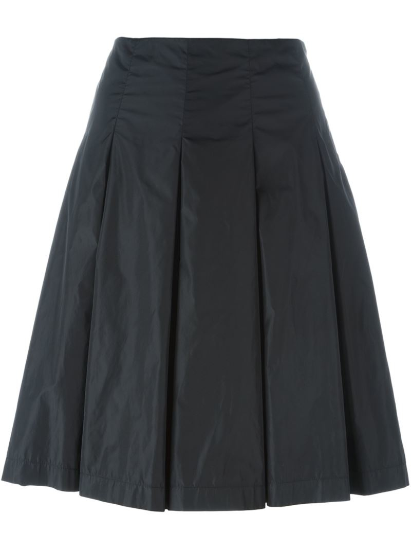prada pleated skirt in black lyst