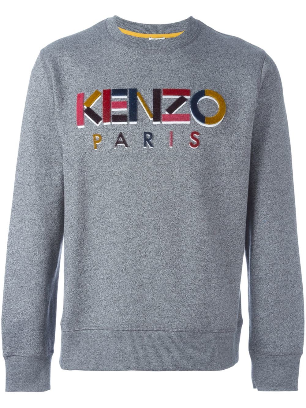 kenzo cotton sweatshirt with textured logo in gray for men lyst. Black Bedroom Furniture Sets. Home Design Ideas