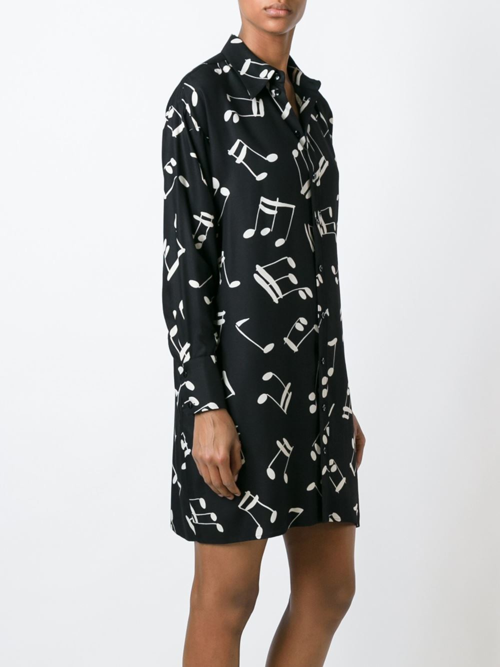 Saint laurent music note printed shirt dress in black lyst for Saint laurent shirt womens