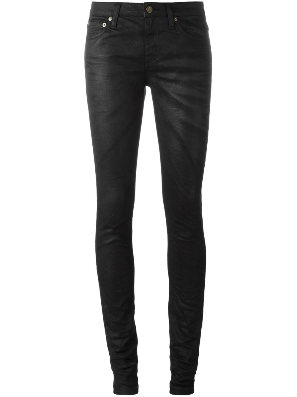saint laurent coated skinny jeans in black lyst. Black Bedroom Furniture Sets. Home Design Ideas
