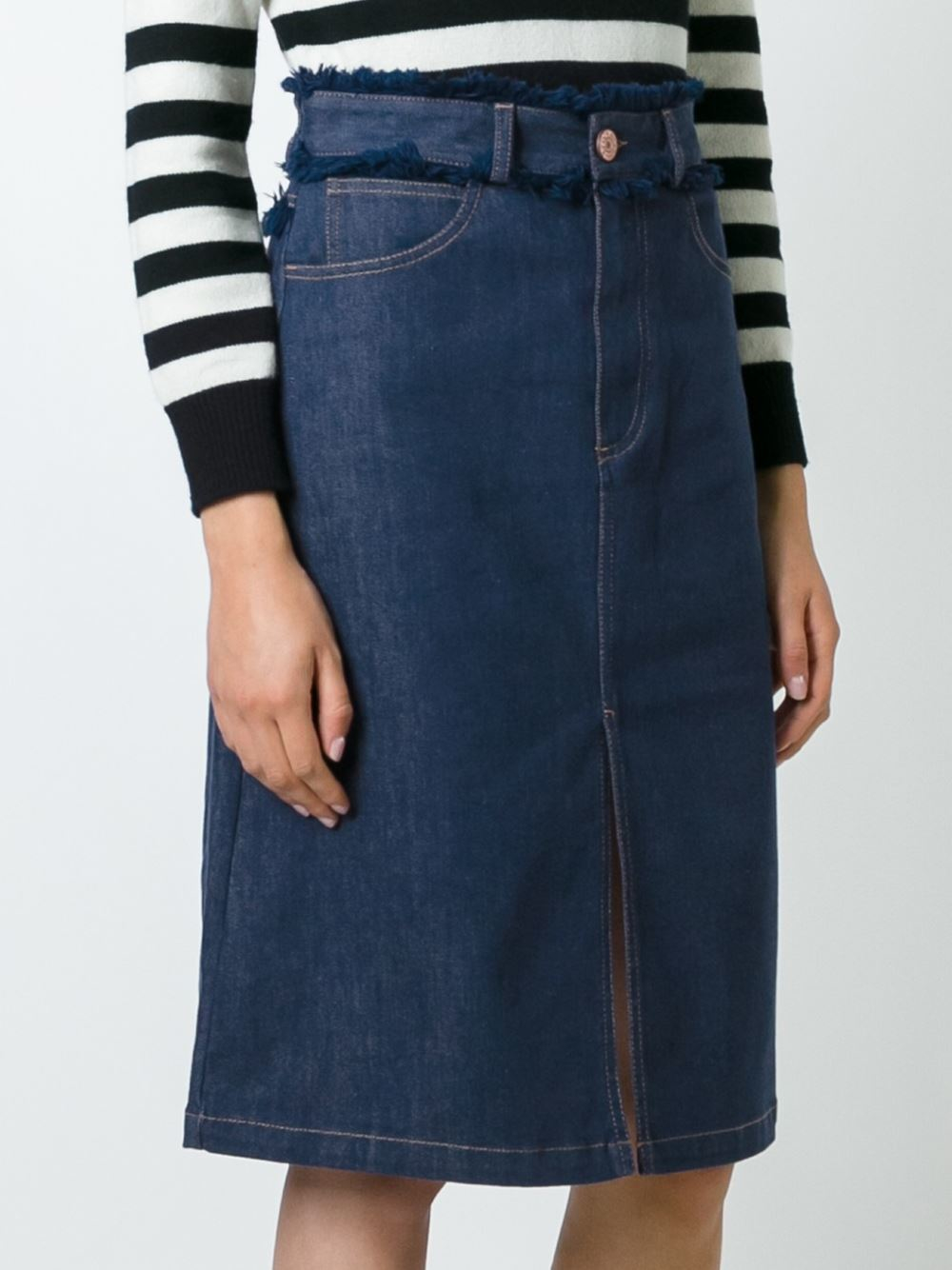 see by chlo 233 see by chlo 233 frayed edge denim skirt in blue