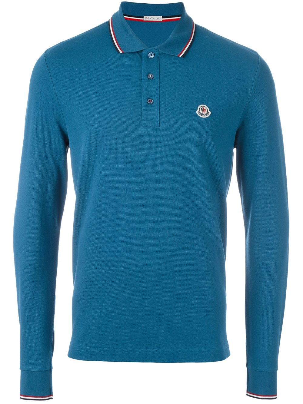 Moncler Long Sleeve Logo Polo Shirt In Blue For Men Lyst