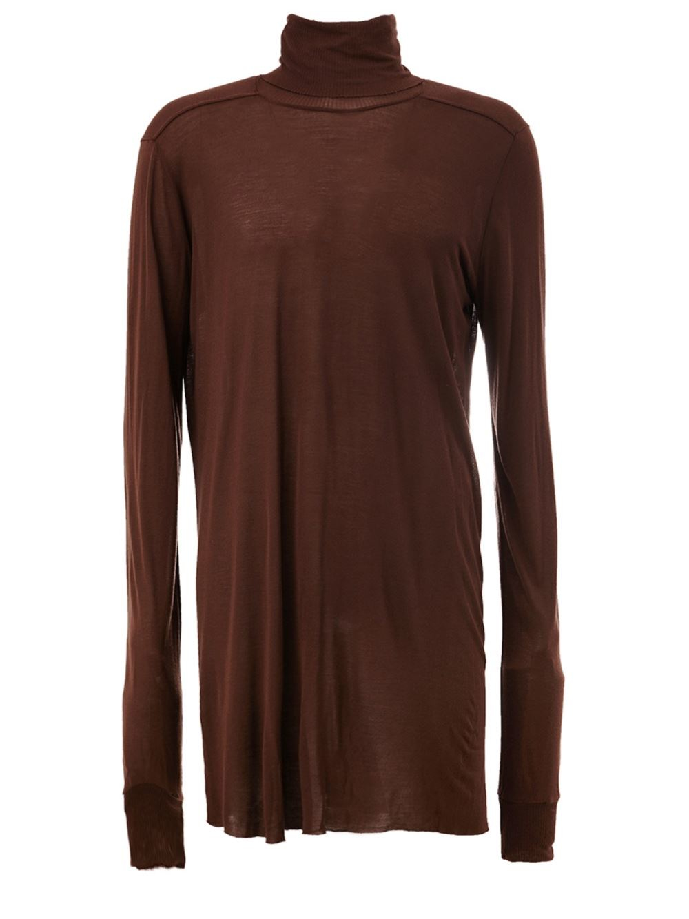 Lyst Rick Owens Longsleeved Roll Neck T Shirt In Brown