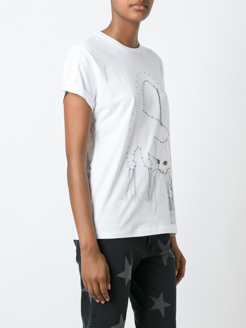 Stella mccartney embroidered cat t shirt in black lyst for Stella mccartney t shirt