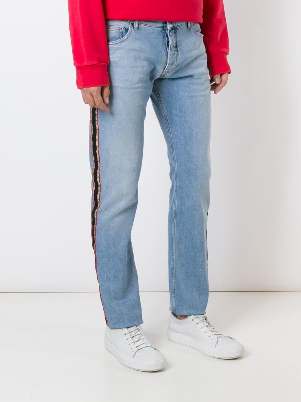 Palm Angels Side Stripe Jeans In Blue For Men Lyst