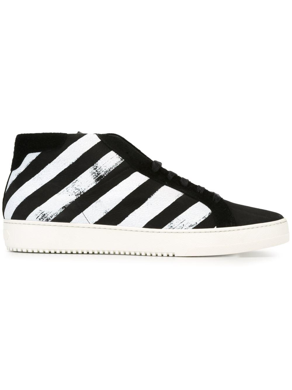 c8a75de05c2cb Lyst - Off-White c o Virgil Abloh Striped Hi-top Sneakers in Black ...