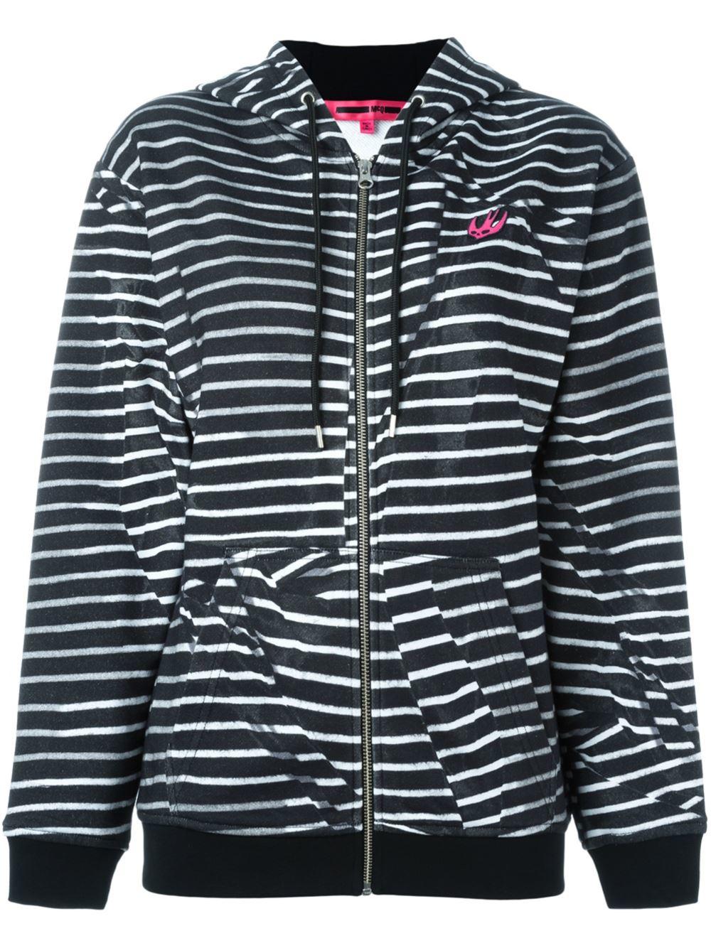 mcq alexander mcqueen 39 swallow 39 striped hoodie in black lyst. Black Bedroom Furniture Sets. Home Design Ideas