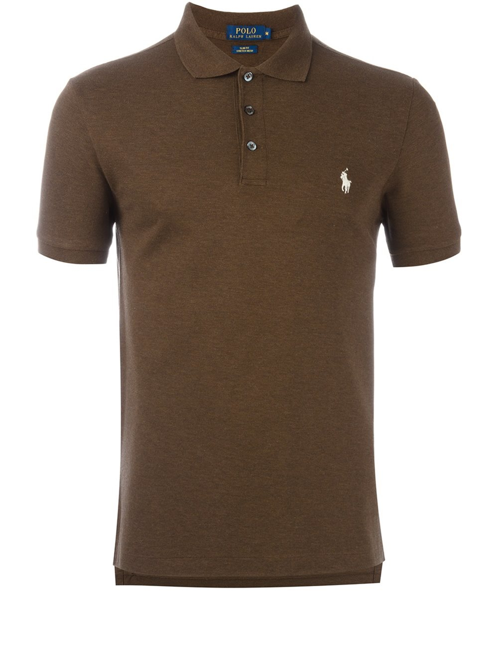 Polo ralph lauren logo embroidered polo shirt in brown for for Polo shirts with logos