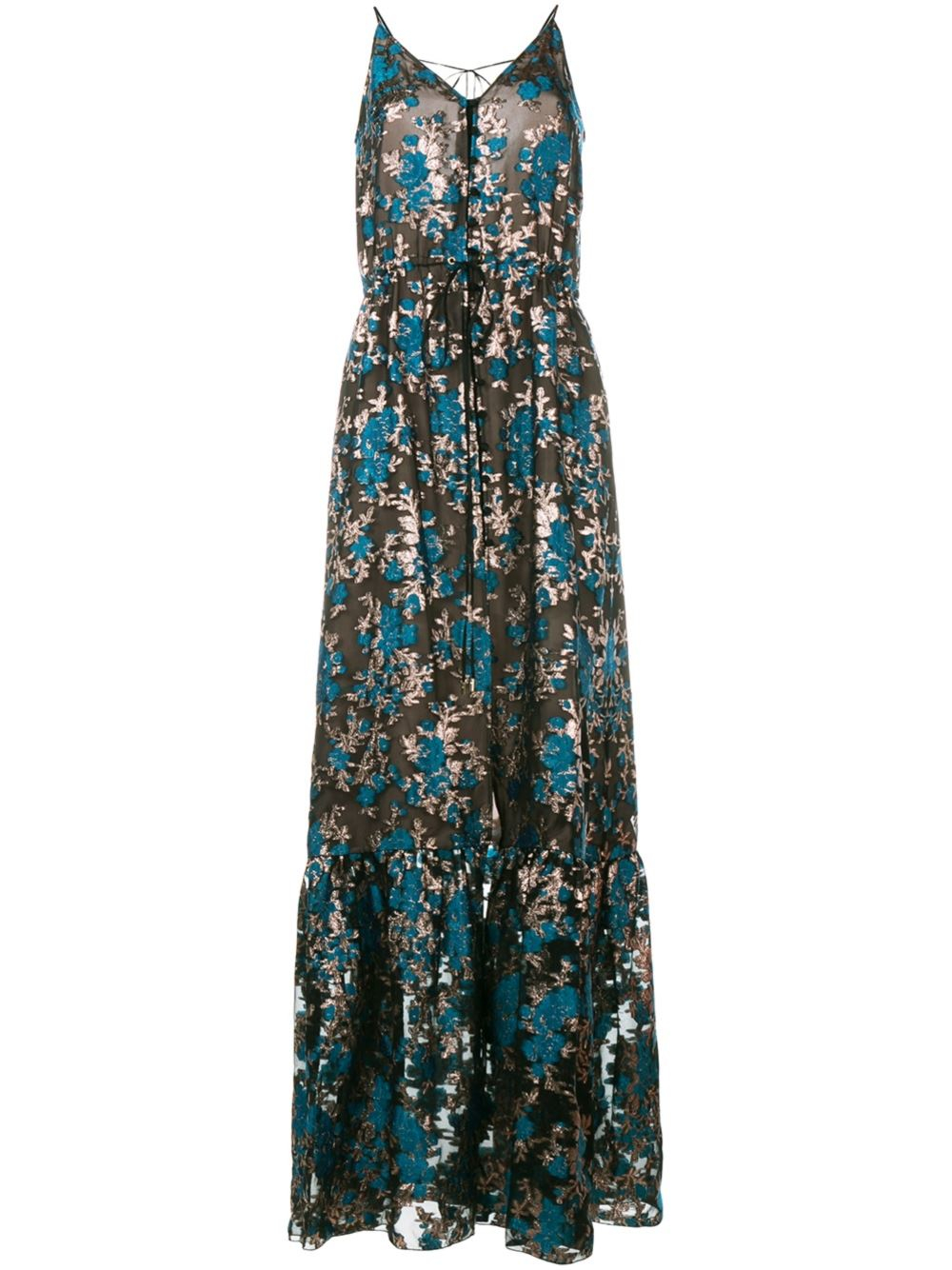 Lanvin floral embroidered evening dress in blue lyst