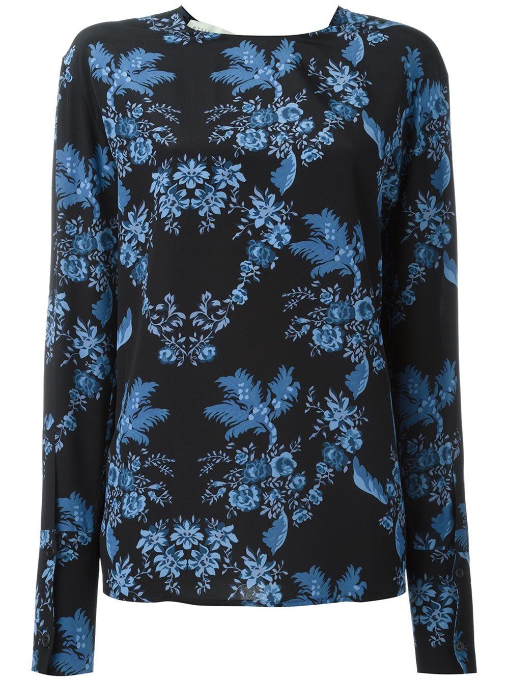 Stella Mccartney Floral Print T Shirt In Black Lyst