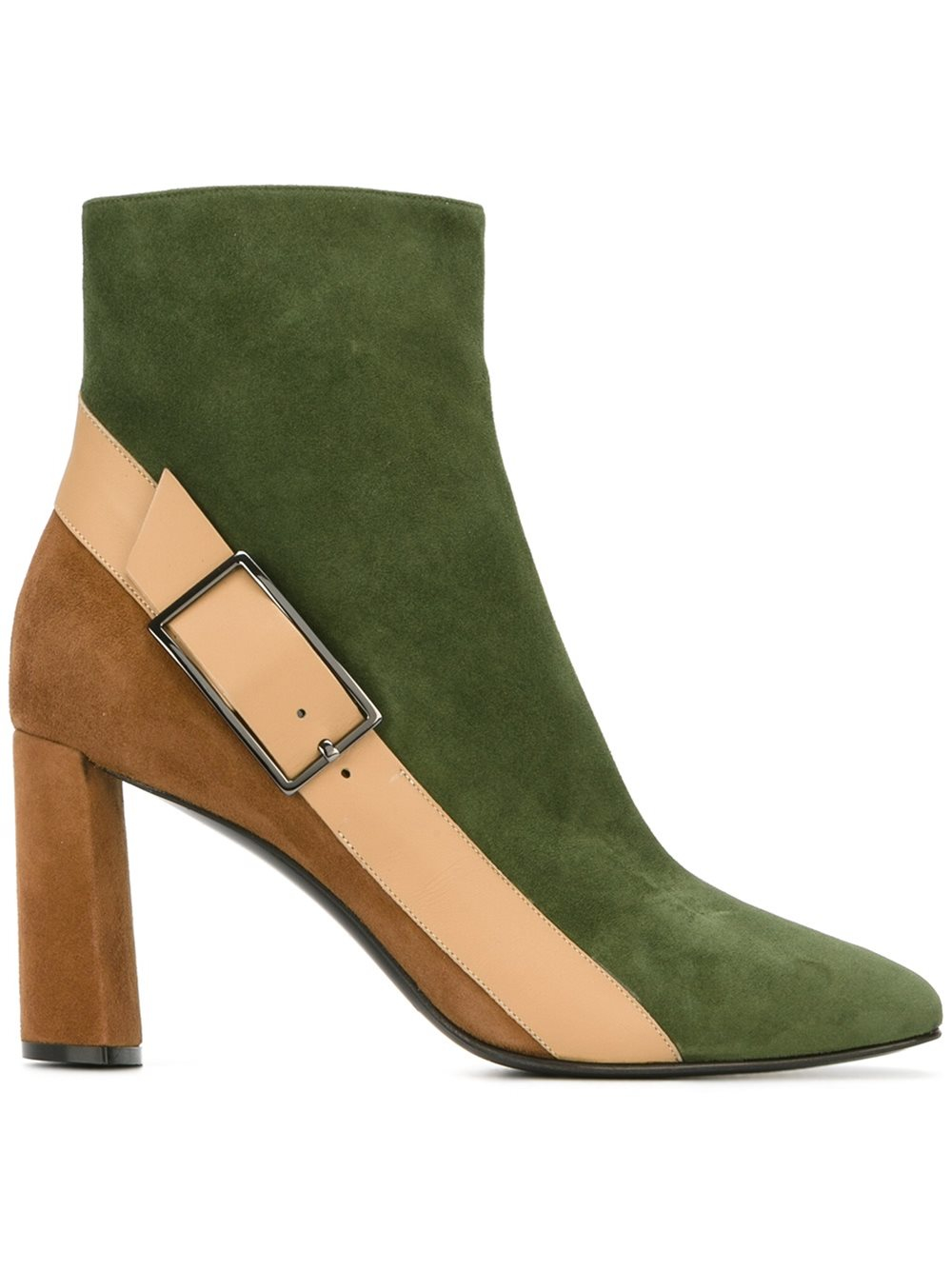 casadei buckle detail boots in green lyst. Black Bedroom Furniture Sets. Home Design Ideas