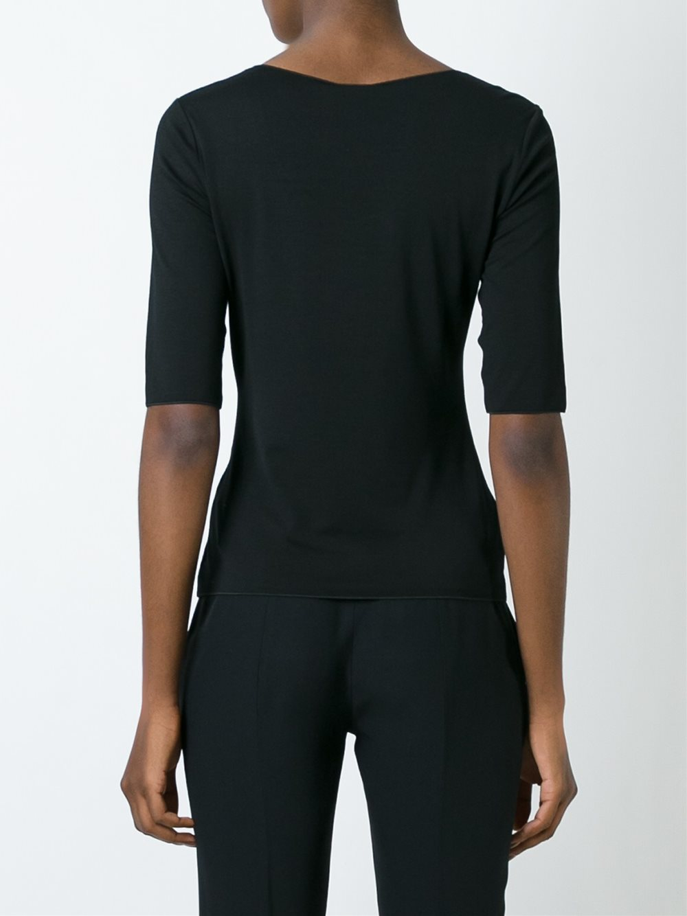 Lyst armani scoop neck t shirt in black for Scoop neck t shirt