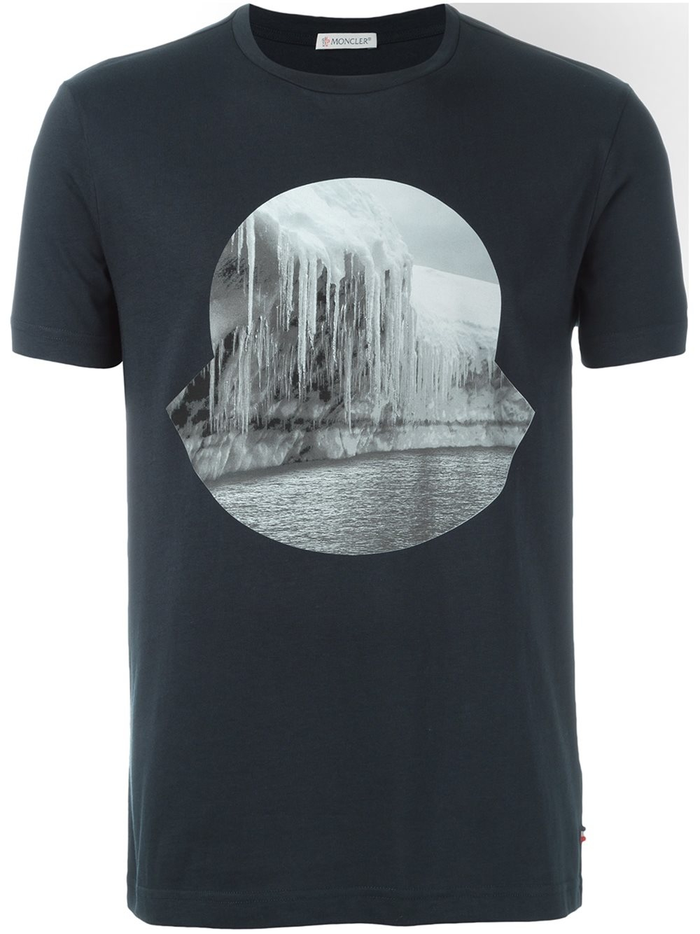 moncler icicle print logo t shirt in blue for men lyst. Black Bedroom Furniture Sets. Home Design Ideas