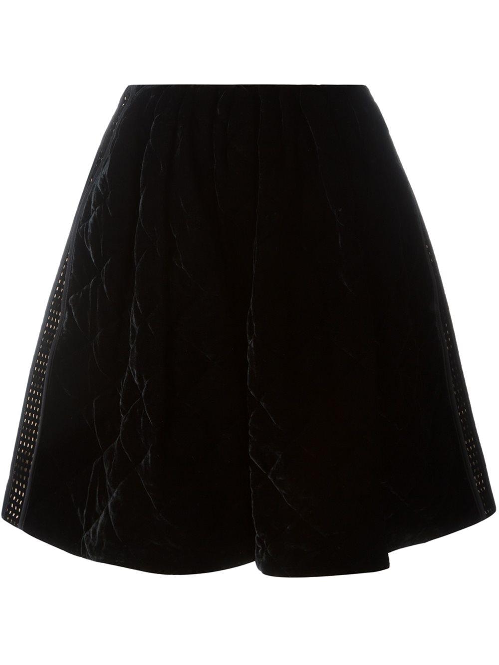 Lyst Fendi Quilted Velvet Skirt In Black