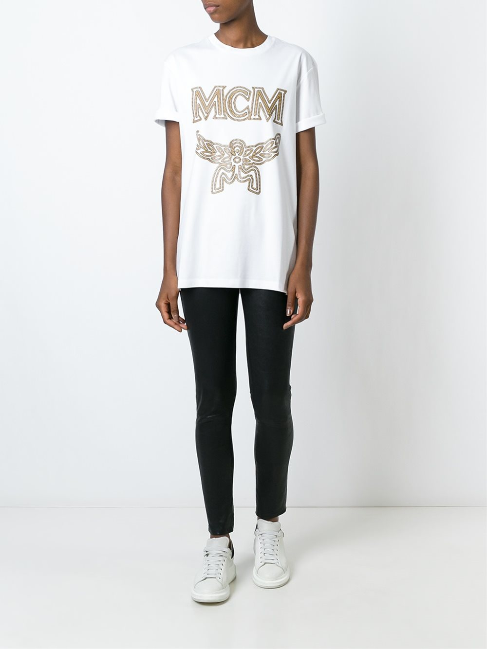 mcm logo print t shirt in white for lyst