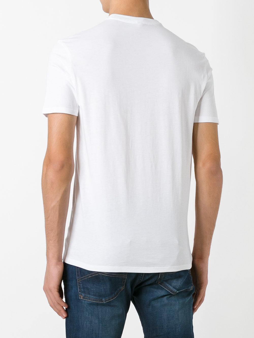 Lyst armani jeans printed logo t shirt in white for men for Printed shirts for mens