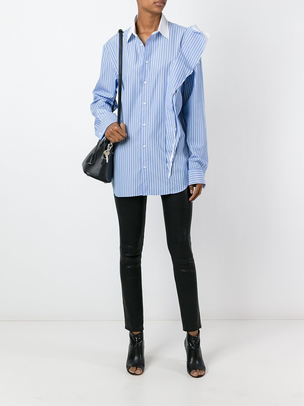 Maison margiela striped ruffle detail shirt in blue lyst for Maison de margiela
