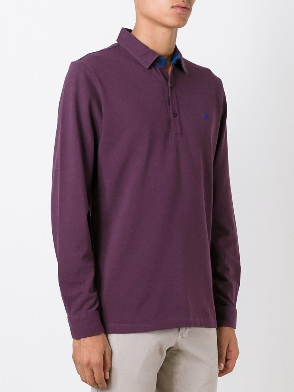 Etro long sleeve polo shirt for men lyst for Long sleeve purple polo shirt