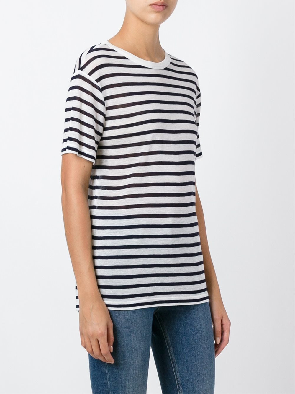 Lyst t by alexander wang striped t shirt in black for Alexander wang t shirts