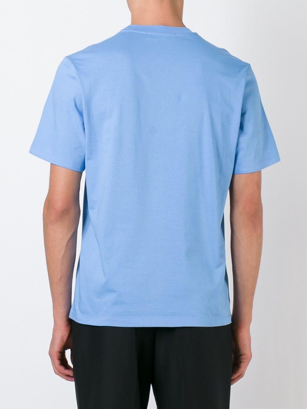 Msgm logo print t shirt in blue for men lyst for Lands end logo shirts