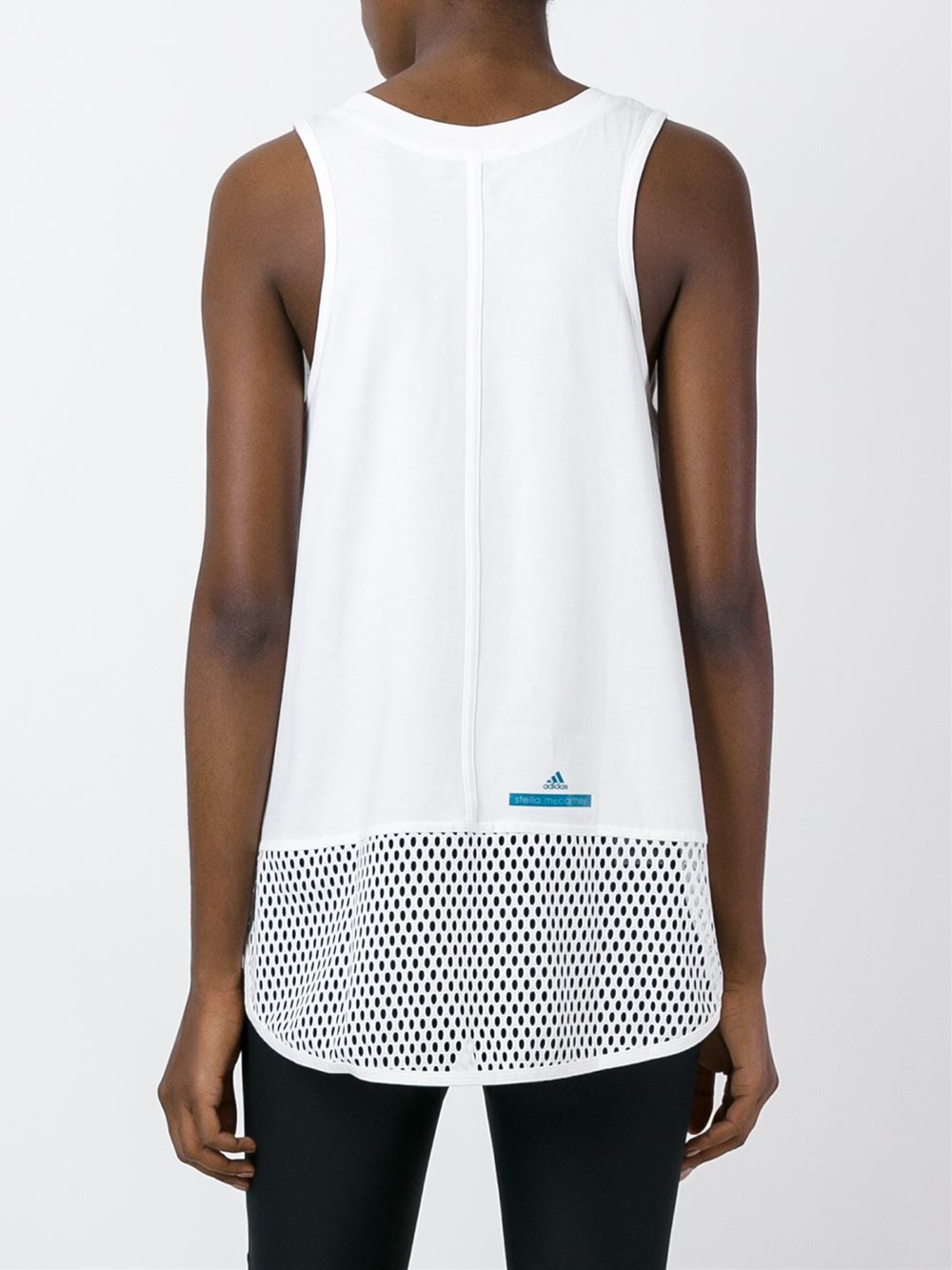 lyst adidas by stella mccartney mesh hem tank top in white. Black Bedroom Furniture Sets. Home Design Ideas