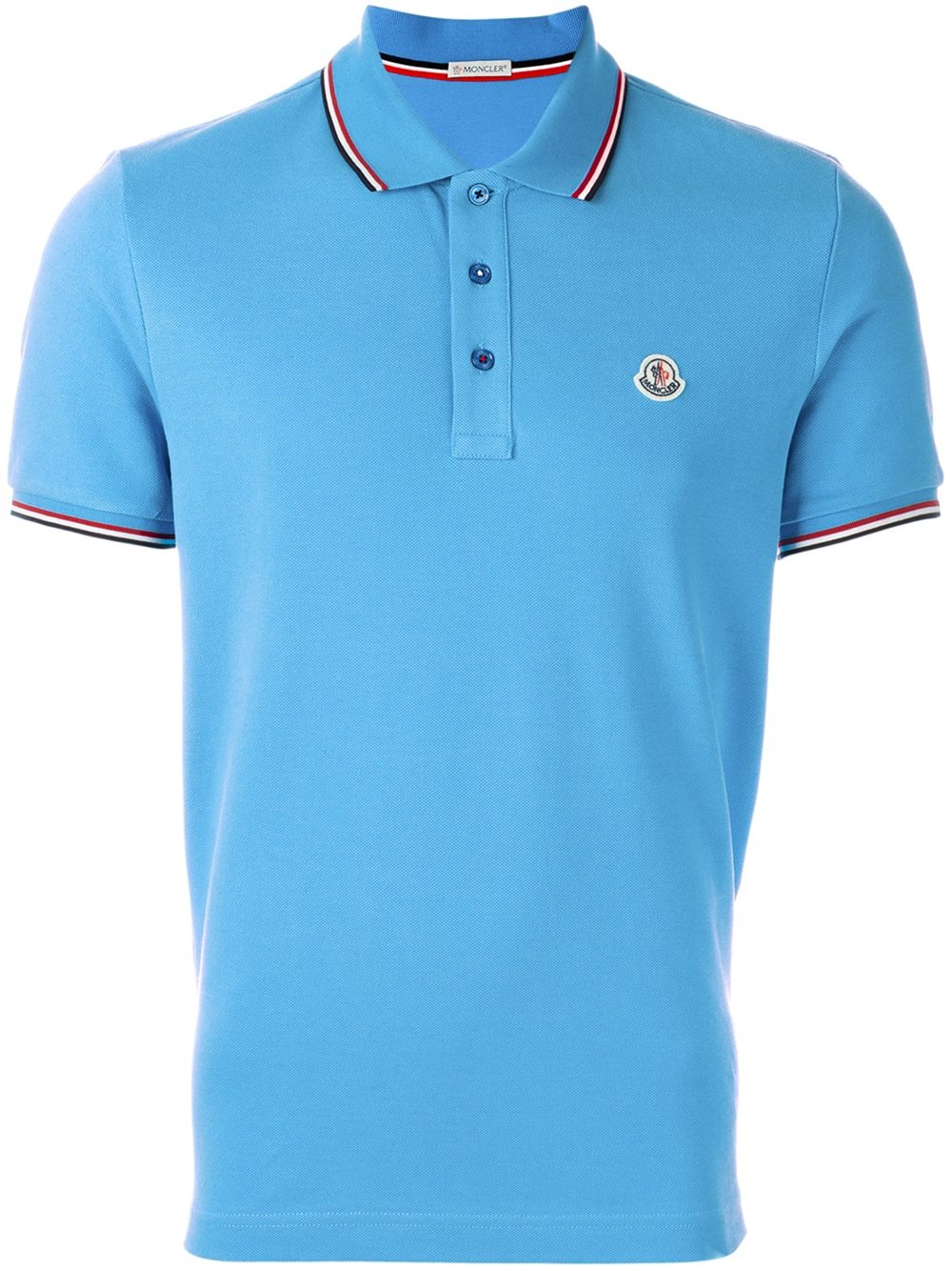moncler short sleeve polo shirt in blue for men lyst. Black Bedroom Furniture Sets. Home Design Ideas