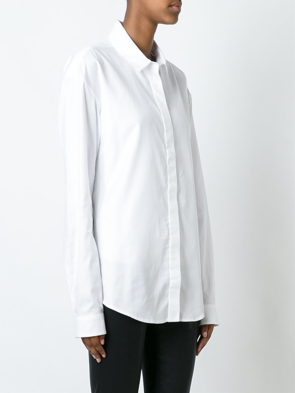 Lyst anthony vaccarello classic button down shirt in white for Preppy button down shirts