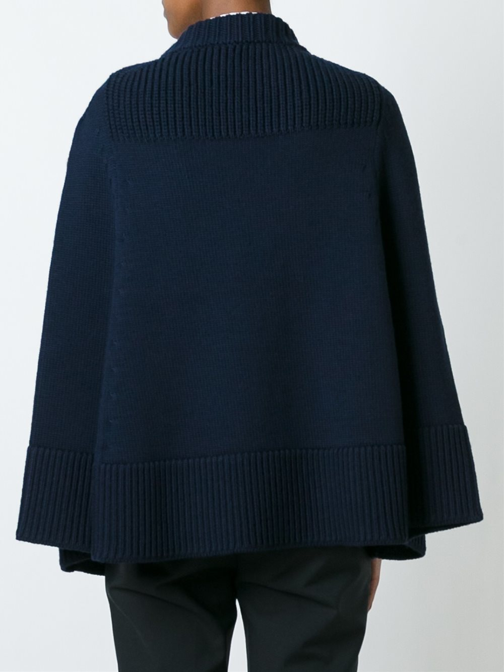 Cape Jumper Knitting Pattern : Moncler Cable Knit Cape Jumper in Blue Lyst