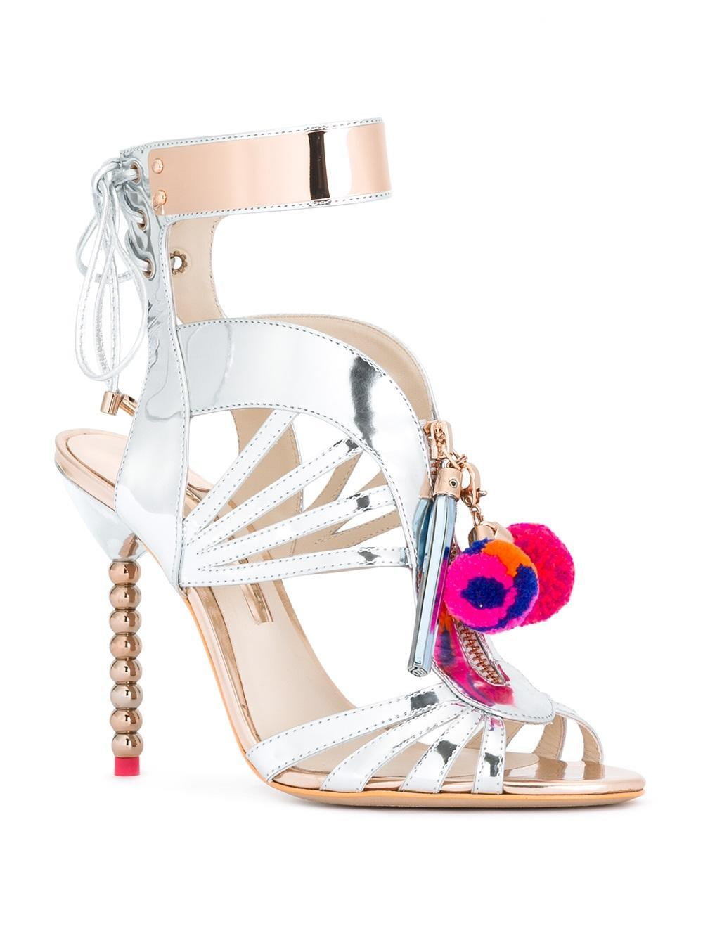 Lyst Sophia Webster Yasmina Pompom Sandals In Metallic