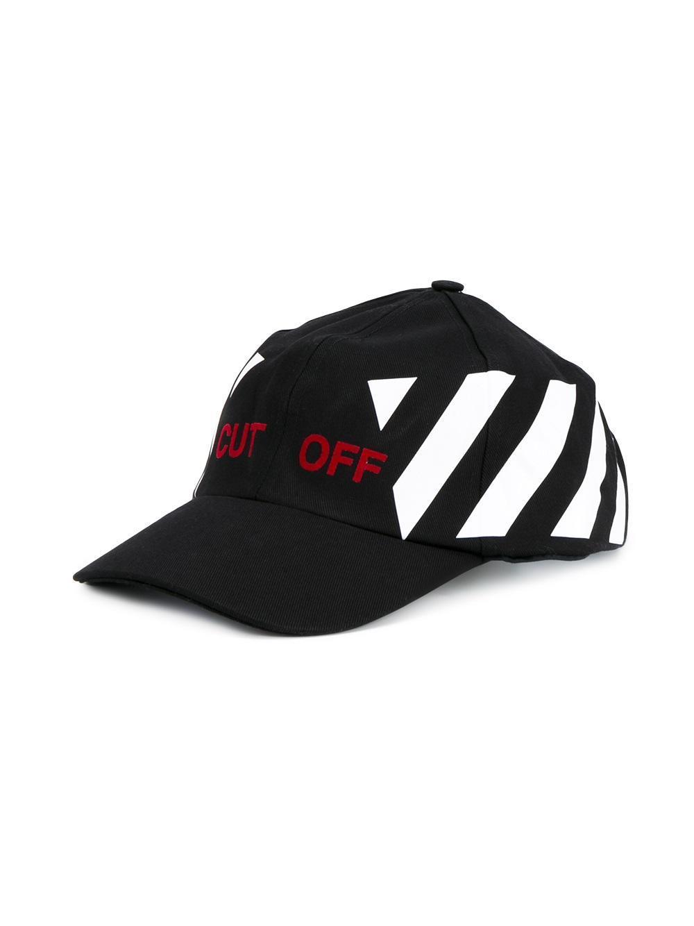 Off-white c/o virgil abloh Striped Cotton Baseball Cap in Black for Men | Lyst
