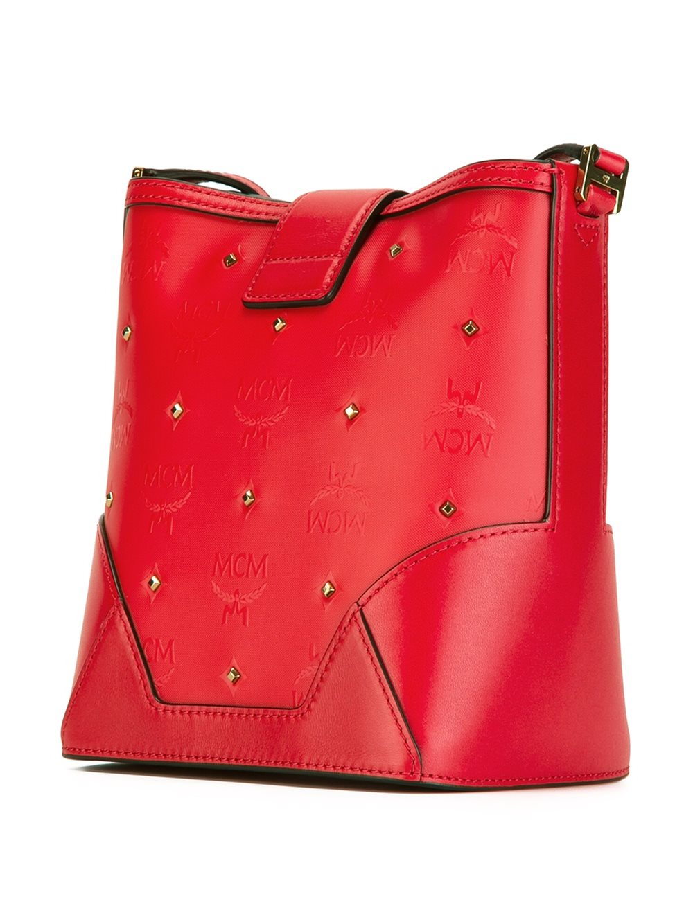 Mcm Gold Tone Studded Crossbody Bag In Red Lyst
