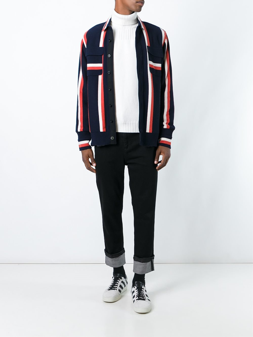 Lyst Sacai Striped Shirt Jacket In Blue For Men
