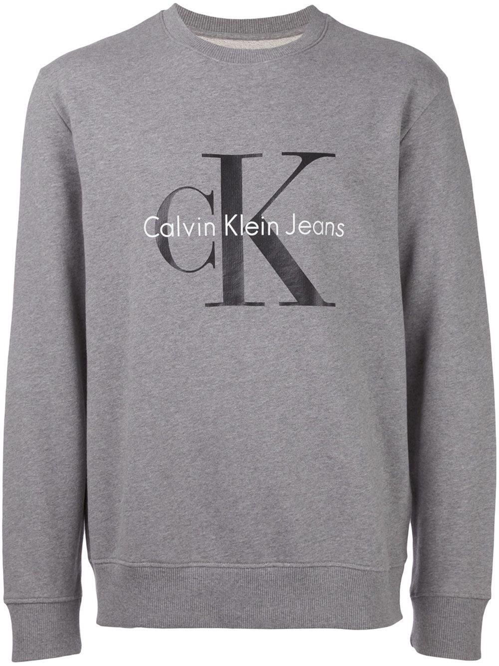 calvin klein jeans logo print crew neck sweatshirt in multicolor for men grey lyst. Black Bedroom Furniture Sets. Home Design Ideas