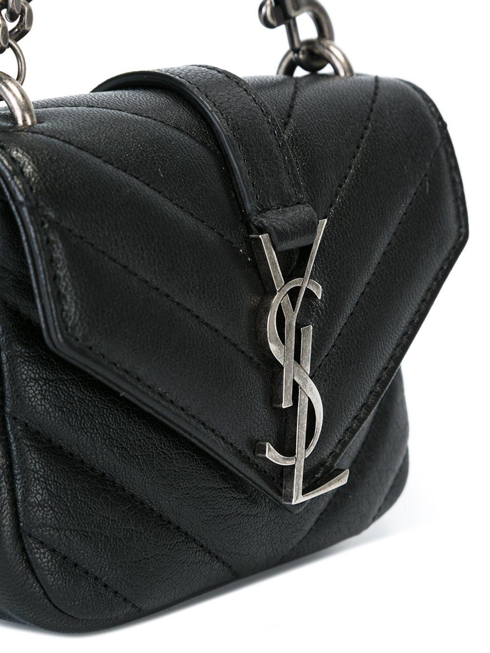 Saint laurent Mini College Leather Bag in Black  c81eb001d264b
