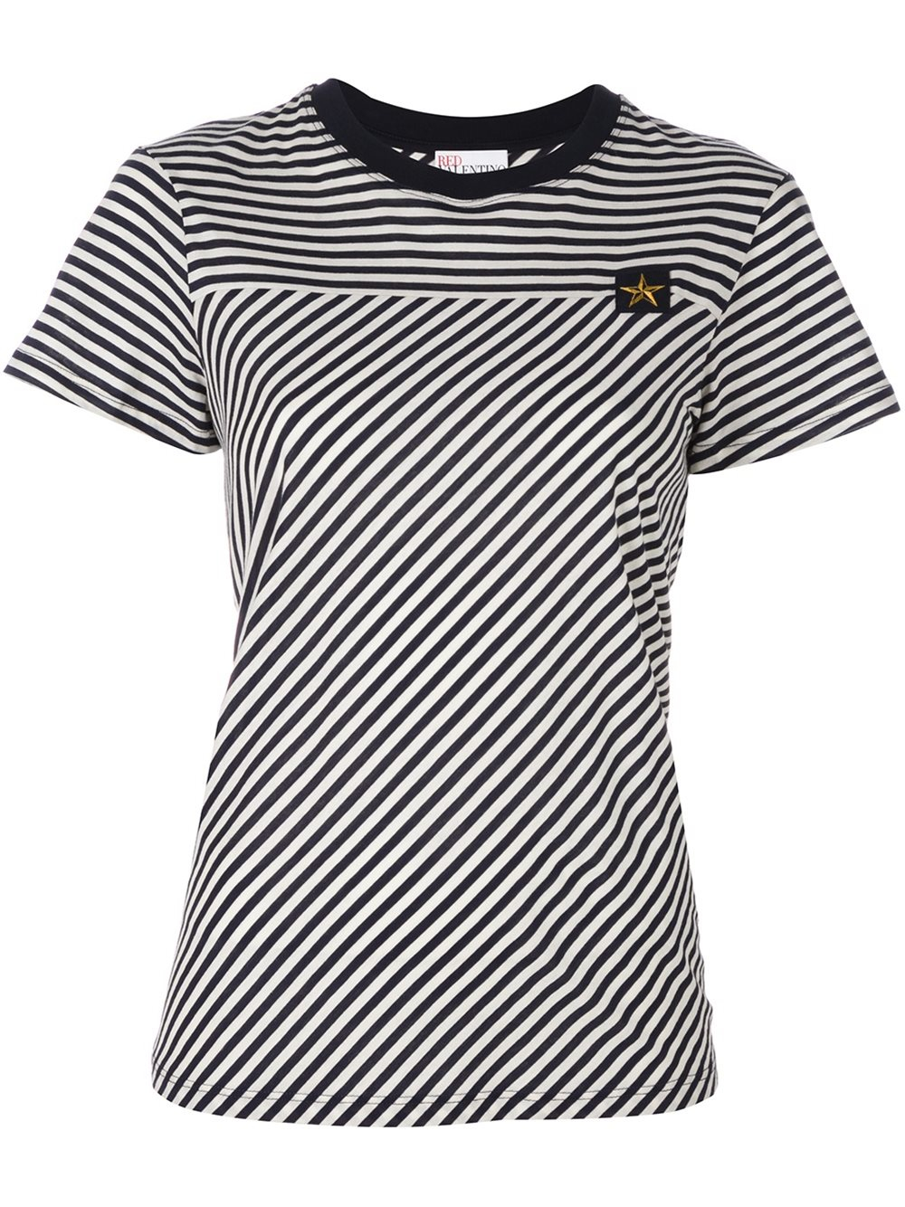 Red valentino striped t shirt in blue lyst for Red valentino t shirt