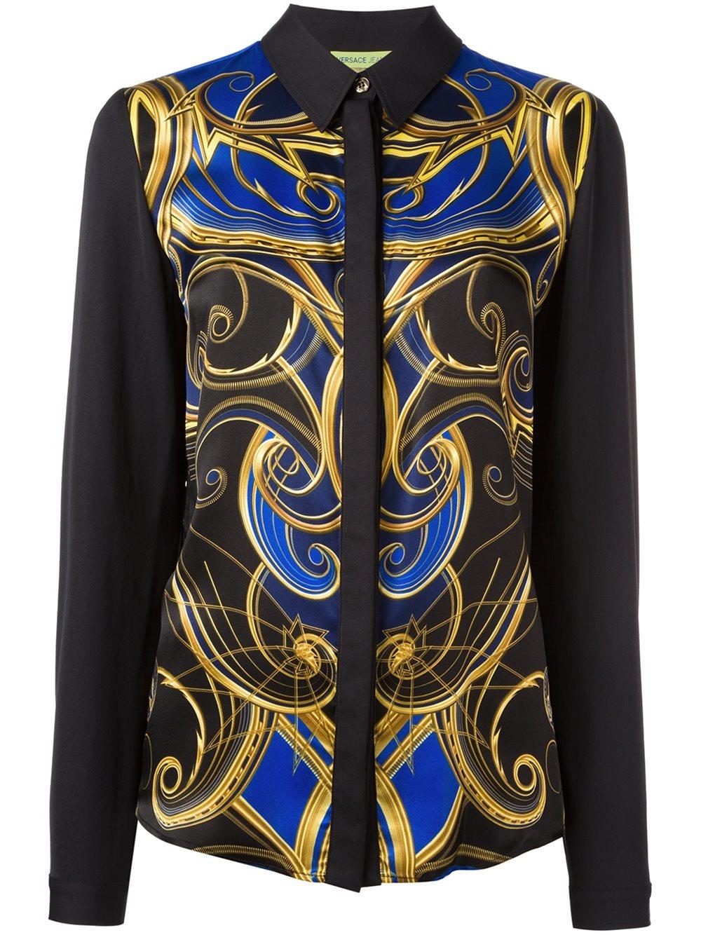Versace jeans ornate print shirt lyst for Versace t shirts women
