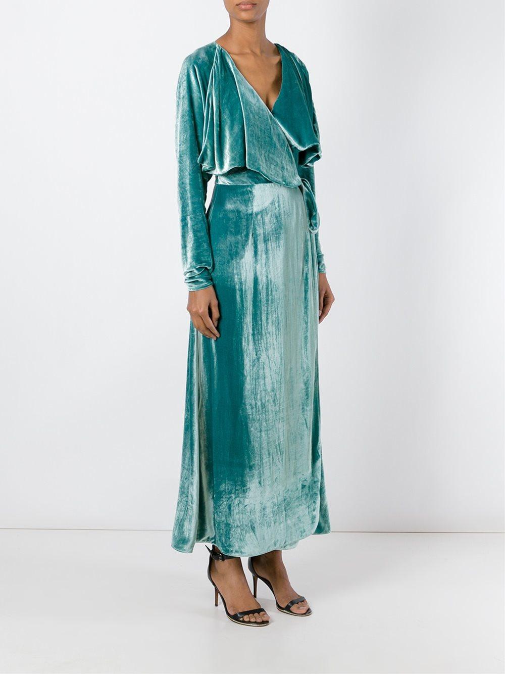 Attico Long Sleeved Velvet Wrap Dress In Green Lyst