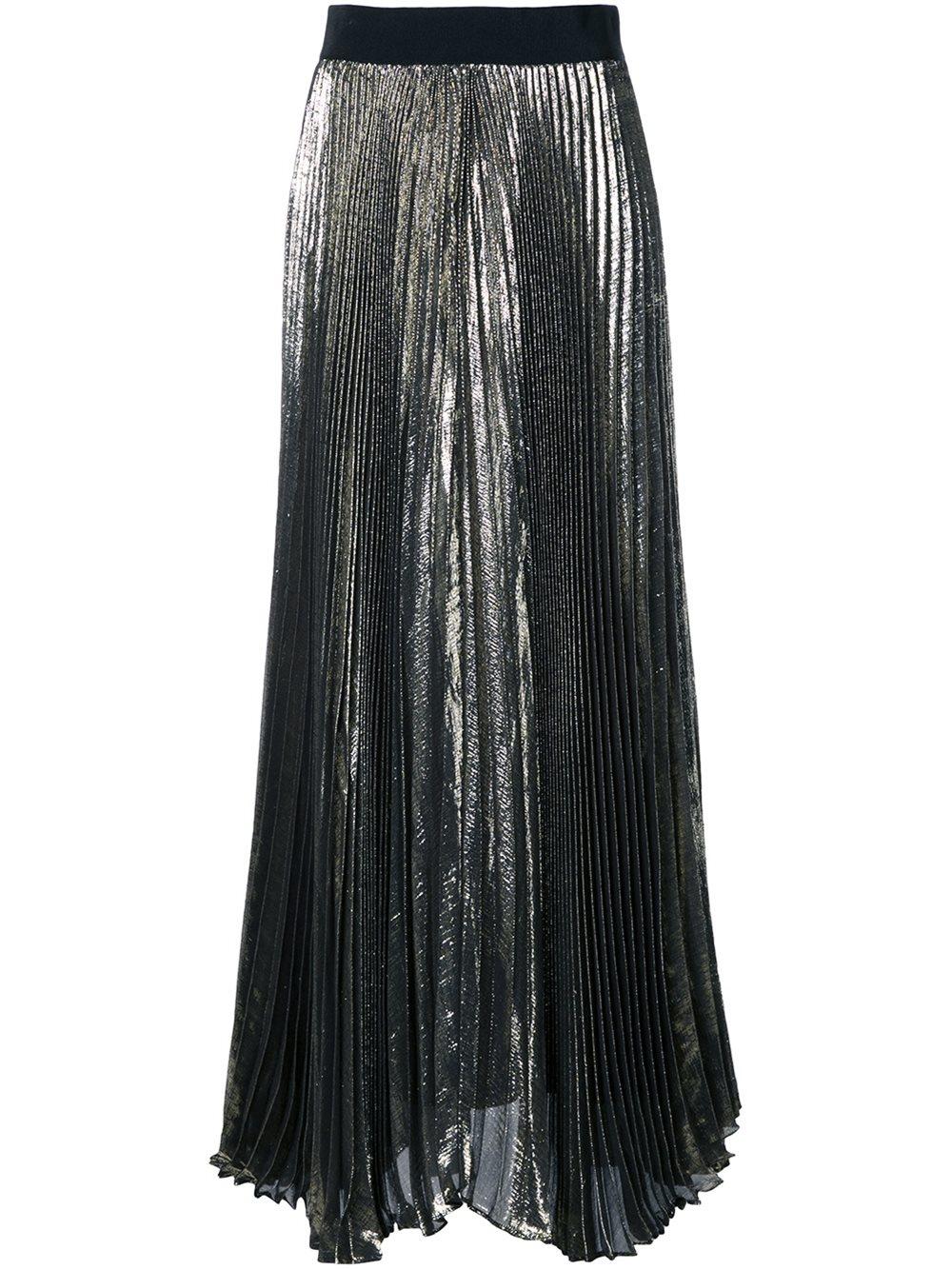 pleated skirt in metallic lyst