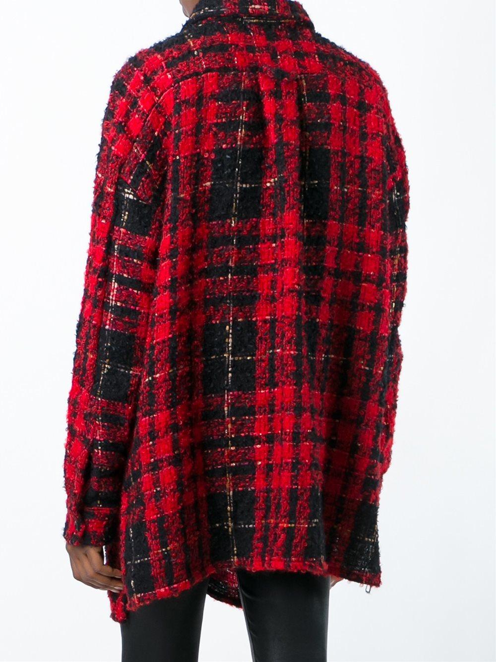Faith connexion oversized plaid shirt in black lyst for Oversized red plaid shirt