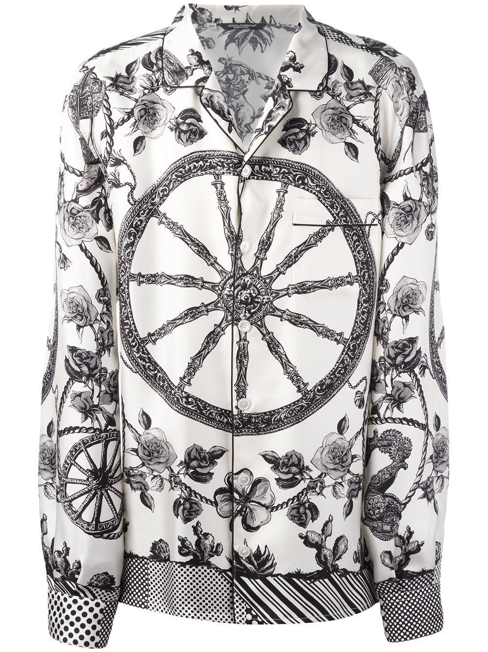 d17c87bb Dolce & Gabbana Wheel Print Pyjama Shirt in Natural for Men - Lyst