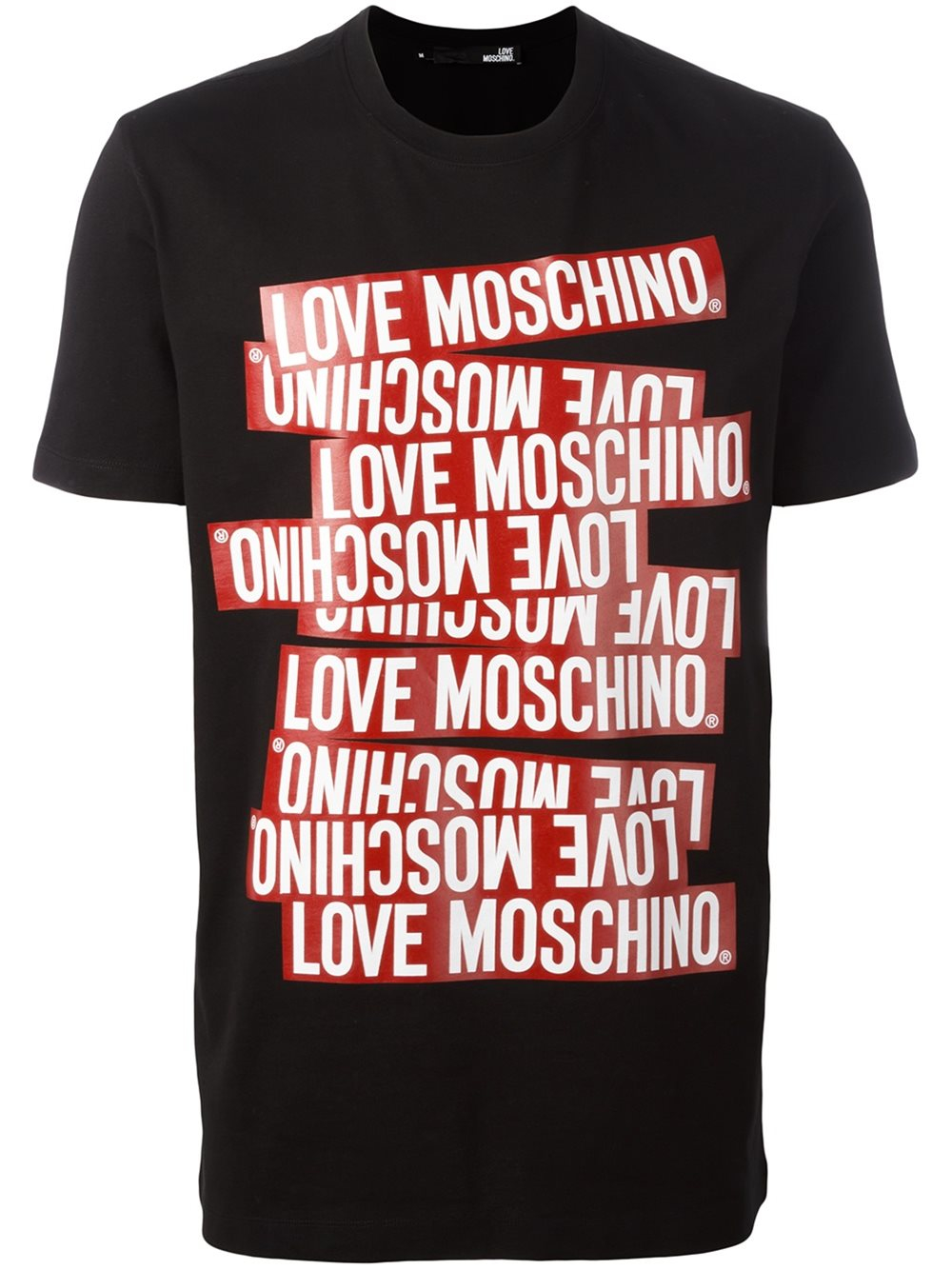 lyst love moschino logo print t shirt in black for men. Black Bedroom Furniture Sets. Home Design Ideas